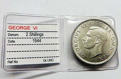 c1944 silver George V1 Two Shilling UNC