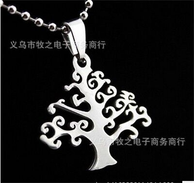 HOT Tree Womens Men's Silver 316L Stainless Steel Titanium Pendant Necklace
