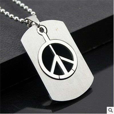 HOT Peace Womens Men's Silver 316L Stainless Steel Titanium Pendant Necklace
