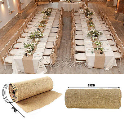 10M Burlap Hessian Wedding Table Runner Natural Jute Rustic Party Country Decor
