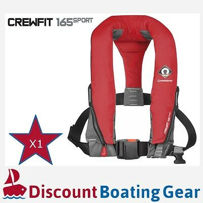 1x RED CREWSAVER CREWFIT SPORT 165N Inflatable PFD Manual Lifejacket Boating