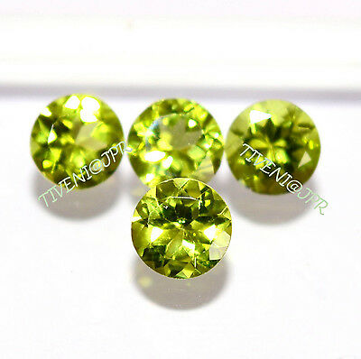7MM/15 Pieces AAA  Natural Peridot Faceted Cut Round Loose Gemstone Rings stones