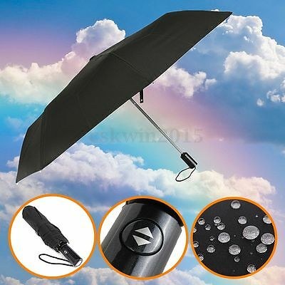 Men's Business Automatic Open Close Windproof Compact Foldable Anti-UV Umbrella