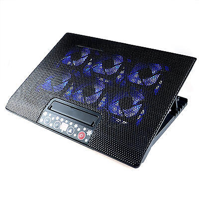 """Adjustable 2 USB LED Cooling Pad Cooler with 6 Fans for 12""""-17""""Laptop Notebook"""