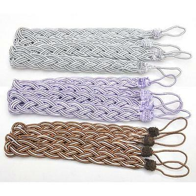 2Pcs/Set Window Curtain Knitted Cord Rope Buckle Tiebacks Braided Tie Backs