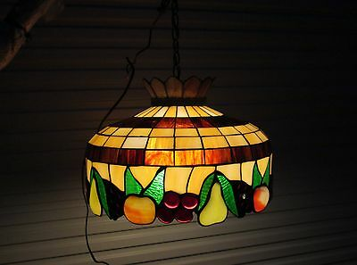 Beautiful Multi-Color Stained Glass / Fruits Hanging Light ~ Chandelier Must C