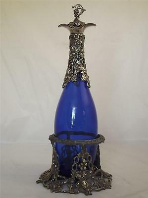 Silver Plate Bristol Blue Glass Wine Decanter In Stand