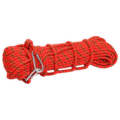 10M ROCK CLIMBING MOUNTAINEERING RAPPELLING CORD AUXILIARY ROPE with 2 CARABINER