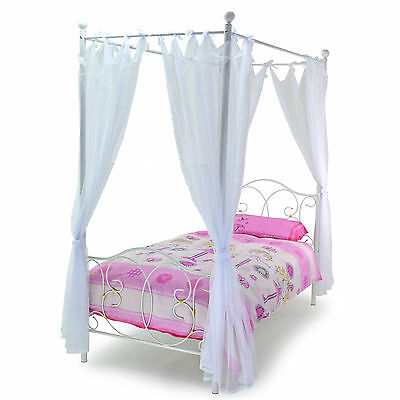 Kids Girls Ballet 3ft Single Four 4 Poster Bed Metal Princess White Gold Drapes