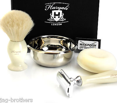 Haryali Ivory Double Edge Razor+Wilkinson Badger Brush Stainless Steel Bowl+Soap