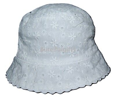 Baby Girls White Cotton Broderie Anglaise Summer Sun Hat 0-18 Month