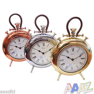 Small Brass Silver Gold Wall Desk Clock Classic Vintage Clocks Timepiece Time