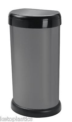 Italian Design - 42L Grey Kitchen Bin, Touch Top Lid, Plastic, Rubbish, Waste