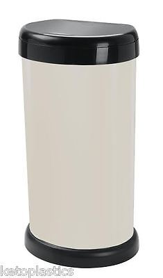 Italian Design - 42L Cream Kitchen Bin, Touch Top Lid, Plastic, Rubbish, Waste