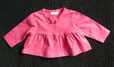 Baby clothes GIRL 0-3m NEXT bright pink cotton material cardigan COMBINE POSTAGE