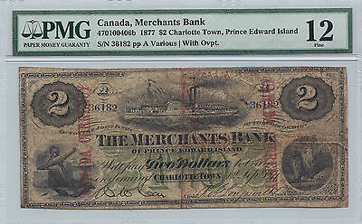 ✪ 1877 $2 The Merchants Bank of Prince Edward Island, Canada Currency, PMG 12 F