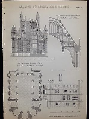 ENGLISH CATHEDRAL ARCHITECTURE WESTMINSTER HAMPTON COURT ANTIQUE PRINT c1880s