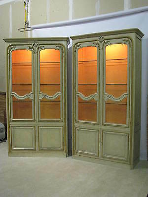 PAIR Stunning Baker Furniture Painted Louis XV Provincial Style Display Cabinets