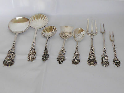 Antique German Sterling Silver 800 Hildesheim Rose table set 8Pcs 19th Century