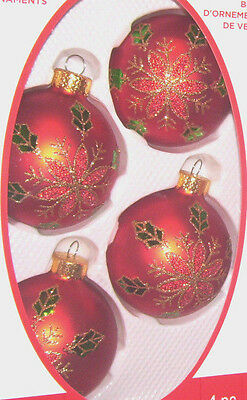 """(4) 2.5"""" dia glass ornaments Red Ball gold glitter flower snowflake holly leaves"""