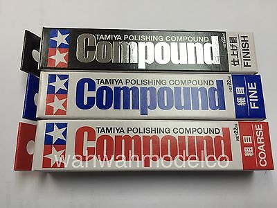 Tamiya Polishing Compound Coarse Fine Finish 87068+ 87069 +87070 Combo 22ml Set