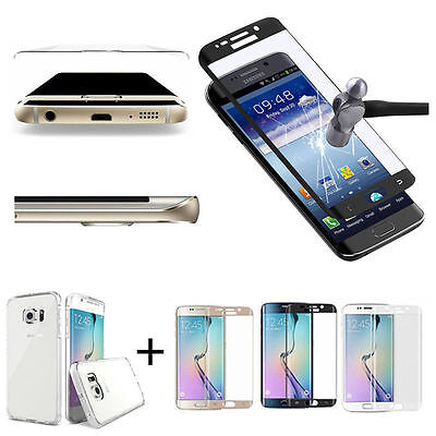 Tempered Glass Curved Full Cover Screen For Samsung Galaxy S7 Edge&Clear Case