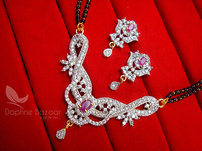 S16 Daphne Pink Chunky Zircon Flora Mangalsutra set for Women, Gift for Wife