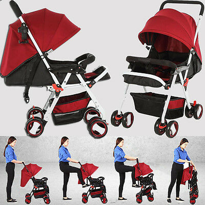 New Baby Kids Jogger Pram Stroller Pushchair Infant Carriage Portable Buggy RED
