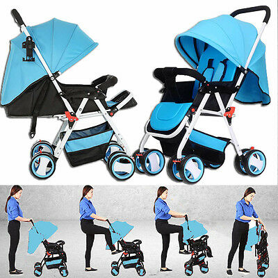 New 4 Wheels Baby Pram Stroller Jogger Kids Toddler Child Children Newborn bed