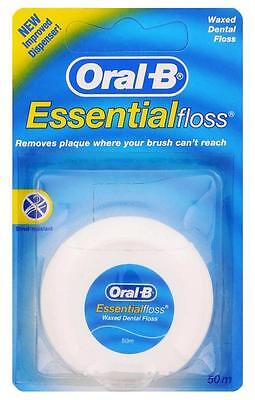 ** Oral B Essential Waxed Dental Floss 50 M Teeth Cleaning  New **