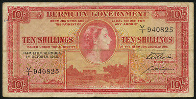 Bermuda 10 Shillings 1966 Pick 19c (4)