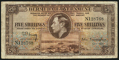 Bermuda 5 Shillings 1937 Pick 8a (4)