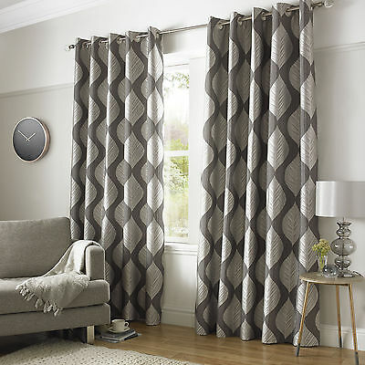 Grey & Silver SIMONE Eyelet / Ring Top Lined Curtains