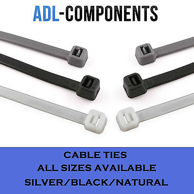 Cable Ties / Tie Wraps All Sizes Black Silver Natural / White ( Packs Of 100)