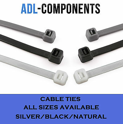 Cable Ties /zip Tie Wraps All Sizes Black Silver Natural White ( Packs Of 100)