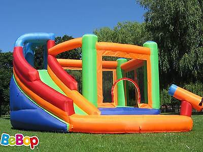 BeBop Spin Combo Big Inflatable Bouncy Castle And Garden Water Slide For Kids