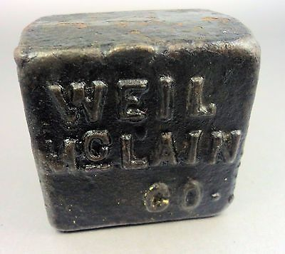 Vintage Cast Iron Industrial  Paperweight Counterweight Weil McLain Co