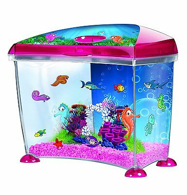 Aquarium Plastic Fish Tank Set Kit With Filter Cut Out Ornaments Seahorse Theme