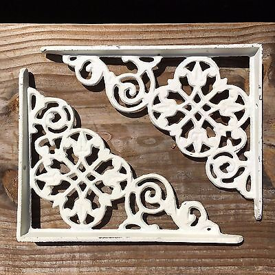 set of 2 antique style White Cast Iron Decorative Shelf Brackets #69