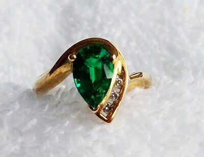 10k yellow gold ring size 8 pear cut emerald * stone unworn FREE SHIPPING