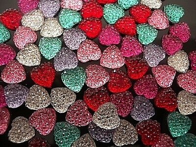 Gorgeous Heart Sparkly Resin Kitsch Cabochons Kawaii Decoden - Fast Shipping