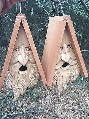 2 Hand Carved Wood Spirit Old Man Face Cedar Birdhouses
