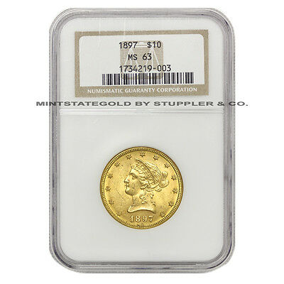 1897 $10 Gold Liberty Head NGC MS63 choice certified Eagle Philadelphia coin