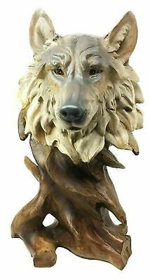 "Nature Hunter Wildlife Jungle Gray Wolf Bust Figurine Home Decor Statue 10.75""h"