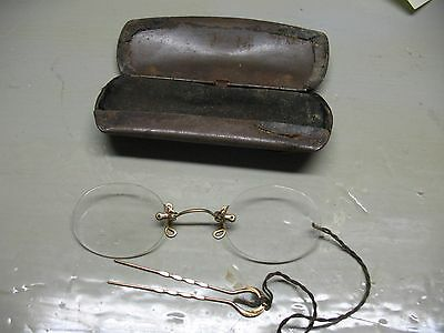 G.f. Pince - Nez  Shur - On  Spectacles & Case  Antique  Originals