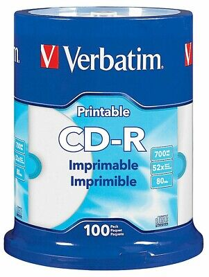 Verbatim Pack Of 100 CD-R 80m/700MB 52x White Hub Printable Disc Spindle  98493