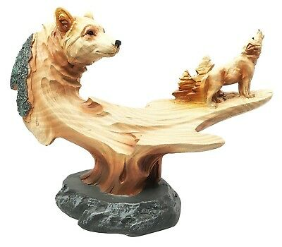Nature Hunter Wildlife Howling Wolf Wolves Figurine Home Decor Faux Wood Resin