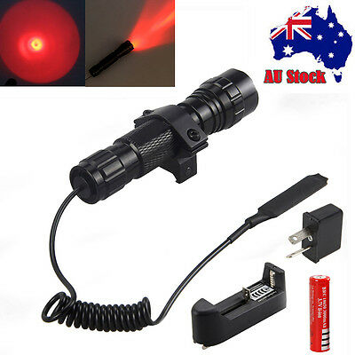 Red LED 3000LM CREE Tactical Flashlight Torch Mount Rifle Hunting Light 18650 AU