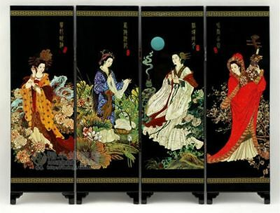 Chinese Lacquer Painting Beautiful Folding Screen China 's four beauties