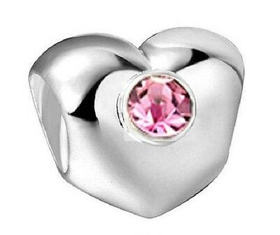 Pink CZ Heart 925 Sterling Silver Plated charm bead in velvet bag